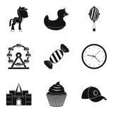 O patrocínio de ícones de uma criança ajustou-se, estilo simples ilustração do vetor