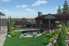 O pavilhão decorativo da lagoa e do jardim, ajardinando 3D rende Fotos de Stock Royalty Free
