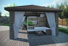 O pavilhão exterior do jardim do pátio, 3d rende Fotografia de Stock Royalty Free