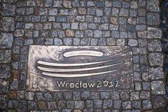 O pavimento de pedra wroclaw poland Superfície de estrada tourism imagens de stock royalty free