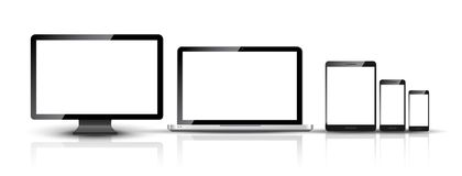 O PC do monitor, do smartphone, do portátil e da tabuleta do computador projeta Grupo digital esperto do dispositivo do telefone  ilustração do vetor