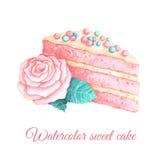 O pedaço de bolo da aquarela com aumentou ilustração stock