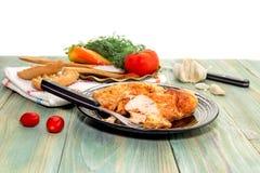 O peito de frango cozido com especiarias Fotografia de Stock