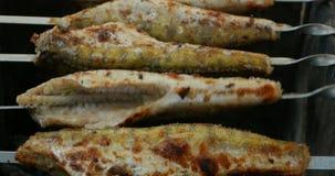 O peixe é fritado em carvões de queimadura filme