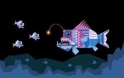O peixe de pescador atrai a rapina ilustração royalty free