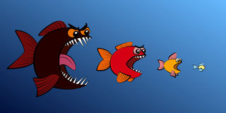 O peixe grande come a cadeia alimentar menor de peixes ilustração do vetor