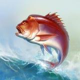 O peixe grande vermelho da caranga salta das ondas ilustração stock