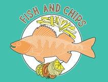 O peixe lasca a placa 1 Ilustração Stock
