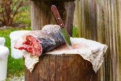 O peixe no coto é cortado com faca afiada mar da carpa Foto de Stock Royalty Free