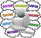O pensamento das escolhas da carreira nubla-se a ocupação querendo saber do pensador Fotos de Stock