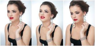 O penteado e compõe - o retrato fêmea bonito da arte com brincos elegance Morena natural genuína com joia imagem de stock