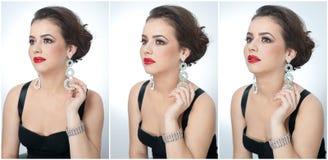 O penteado e compõe - o retrato fêmea bonito da arte com brincos elegance Morena natural genuína com joia fotos de stock royalty free
