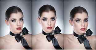 O penteado e compõe - o retrato fêmea bonito da arte com fita preta elegance Morena natural genuína com fita - estúdio Imagens de Stock Royalty Free