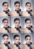 O penteado e compõe - o retrato fêmea bonito da arte com fita preta elegance Morena natural genuína com fita - estúdio fotografia de stock royalty free