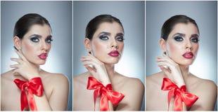 O penteado e compõe - o retrato fêmea bonito da arte com fita vermelha elegance Morena natural genuína com fita - estúdio Imagem de Stock