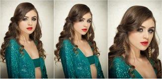 O penteado e compõe - o retrato fêmea bonito da arte com olhos bonitos elegance Morena longa do cabelo no estúdio Retrato fotos de stock