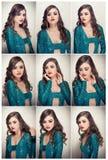 O penteado e compõe - o retrato fêmea bonito da arte com olhos bonitos elegance Morena longa do cabelo no estúdio Retrato Fotos de Stock Royalty Free