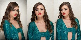 O penteado e compõe - o retrato fêmea bonito da arte com olhos bonitos elegance Morena longa do cabelo no estúdio Retrato imagens de stock royalty free