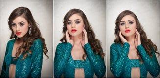O penteado e compõe - o retrato fêmea bonito da arte com olhos bonitos elegance Morena longa do cabelo no estúdio Retrato Fotografia de Stock