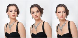 O penteado e compõe - o retrato fêmea bonito da arte com olhos bonitos elegance Morena natural genuína com joia fotos de stock