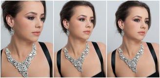 O penteado e compõe - o retrato fêmea bonito da arte com olhos bonitos elegance Morena natural genuína com joia imagens de stock royalty free