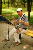 O Pequim, China 07/06/2018 de pensionista chinês de A joga no parque com um erhu nacional do instrumento imagens de stock