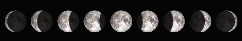 O período da Lua cheia à lua nova Elementos desta imagem fornecidos pela NASA foto de stock