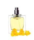 O perfume das mulheres nas flores bonitas da garrafa e da frésia isoladas Imagens de Stock Royalty Free
