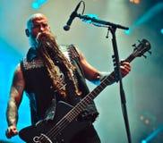 O perfurador da morte de cinco dedos, Chris Kael vive no concerto 2017, metal pesado Fotografia de Stock