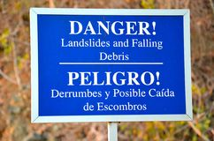 O perigo assina dentro Costa Rica Imagem de Stock