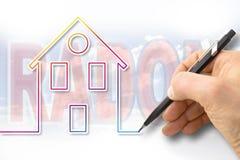 O perigo do gás em nossas casas - imagem do rádon do conceito imagens de stock royalty free