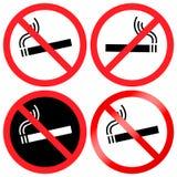O ` permitido não fumadores simples, circular do ` vermelho e preto assina Quatro variações ilustração royalty free
