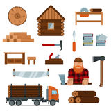 O personagem de banda desenhada do lenhador com lenhador utiliza ferramentas a ilustração do vetor dos ícones Imagens de Stock