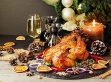 O peru cozido ou chiken ou o espaço do dia da ação de graças do Natal ou do ano novo para o texto Imagens de Stock