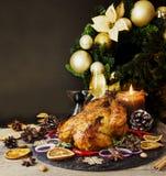 O peru cozido ou chiken ou o espaço do dia da ação de graças do Natal ou do ano novo para o texto Fotografia de Stock