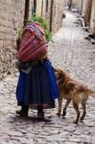 O Peru, rua cobbled no tpwn montanhoso velho, senhora idosa anda com cão imagens de stock