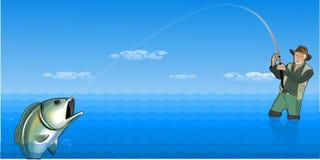 O pescador travou um peixe ilustração royalty free