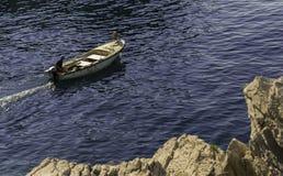 O pescador vai pescar Fotos de Stock