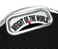 O peso da escala do mundo exprime o problema da carga Fotografia de Stock
