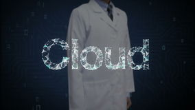 O pesquisador, pontos numerosos tocados coordenador recolhe para criar um erro tipográfico da nuvem, conceito de computação da nu