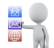 o pessoa 3d branco escolhe ícones das aplicações Foto de Stock