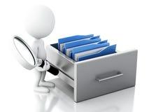 o pessoa 3d branco examina o armário de arquivo Imagem de Stock