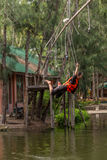 O pessoa de Ásia na aventura baseia o caminhante do céu Fotos de Stock