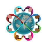O pessoa na forma da junta do coração cede o globo ilustração stock