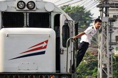 O pessoal da empresa do trem guia o processo do interruptor imagens de stock