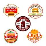 O petisco do hamburguer do fast food e a etiqueta da bebida da soda projetam ilustração stock