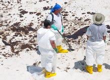 O petróleo lava em terra na praia de Pensacola Imagem de Stock