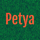 O Petya e o código binário o conceito Secu de Petya e de ransomware Foto de Stock Royalty Free
