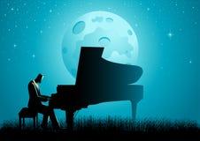O pianista During Full Moon ilustração do vetor