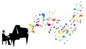 O pianista joga o piano Imagens de Stock Royalty Free